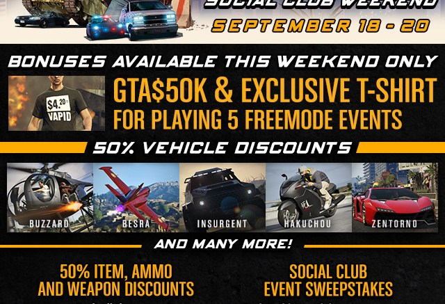 Exclusive Unlocks, In-Game Discounts and More in the GTA Online Freemode Events Social Club Weekend this Fri-Sun