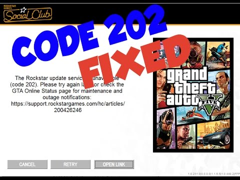GTA 5 The Rockstar update service is unavailable code 202 error fix