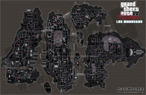 GTA 4 TLAD - Carte des Mouettes (version foncé) - The Lost And Damned