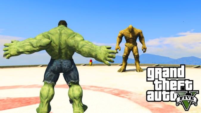 GTA 5 PC Mods - INCREDIBLE HULK VS  THE ABOMINATION! GTA 5 SUPERHERO  SHOWDOWN MODS #3