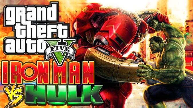 GTA 5 IRON MAN VS THE HULK! (GTA V Mods Funny Moments)