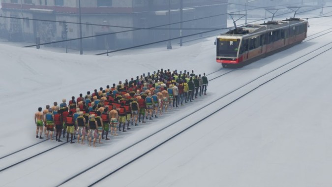 CAN 100+ PEOPLE STOP THE TRAIN IN GTA 5 (#2)