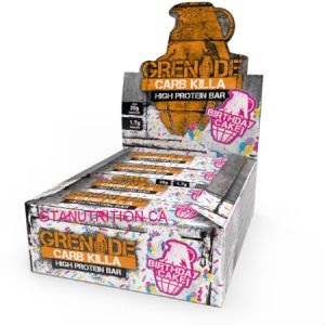 Grenade Carb Killa High Protein Bar Birthday Cake. Low Carb, GMO FREE, Sustainable Palm oil, Low Sugar, Informed-Sport Approved