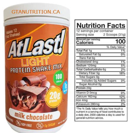 AtLast! Light Milk Chocolate Shake Mix Tube 16.3 oz. Kosher, Gluten Free, Sugar, Free, Soy Free and MCT- Medium Triglycerides.