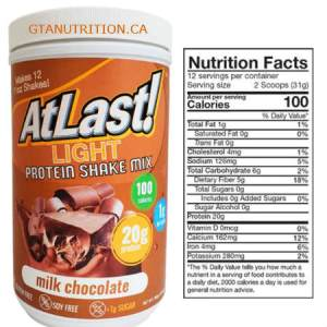 AtLast! Light Milk Chocolate Shake Mix Tube 16.3 oz. Kosher, Gluten Free, Sugar, Free, Soy Free and MCT- Medium Triglycerides.