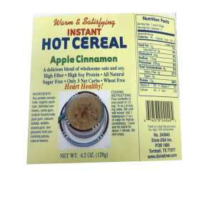 Dixie USA Carb Counters Low Carb apple cinnamon Instant Hot Cereal Breakfast Cereal 4.2 oz. All natural, Wheat Free, Low carb, High Soy Protein Heart Healthy.