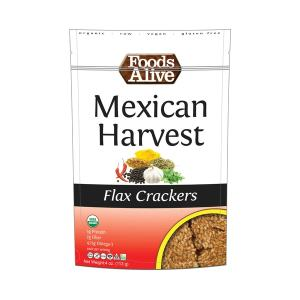 Foods Alive Flax Crackers Mexican Harvest 113g. High Fiber, Organic, NON GMO, Gluten-Free, Raw, Vegan