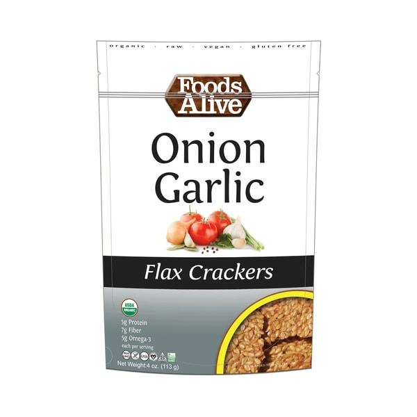 Foods Alive Flax Crackers Onion Garlic 113g. High Fiber, Organic, NON GMO, Gluten-Free, Raw, Vegan