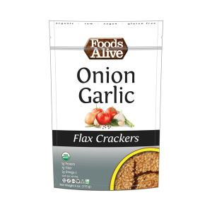 Foods Alive Flax Crackers Onion Garlic 113g. High Fiber, Organic, NON GMO, Gluten-Free, Raw, Vegan