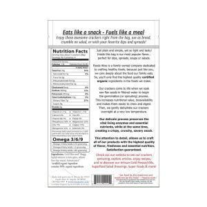 Foods Alive Flax Crackers Original 113g. High Fiber, Organic, NON GMO, Gluten-Free, Raw, Vegan