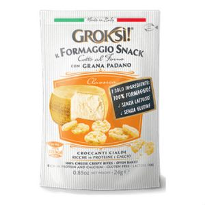 GrokSi Crispy cheese Bites Classico 24g. Gluten Free, Lactose Free, Low carb, Oven Baked, High Protein, Does Not Require Refrigeration.