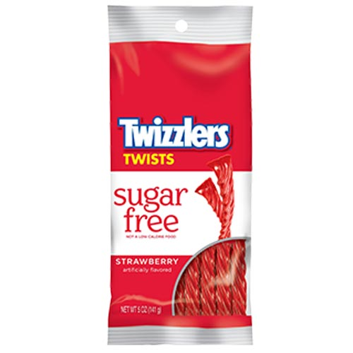 HERSHEY'S STRAWBERRY TWIZZLERS Sugar Free Twists 5 oz. - Kosher If sugar is not a part of your diet, you can still enjoy the chewy treat of TWIZZLERS Twists. These sugar-free strawberry-flavored TWIZZLERS Twists are a perfect treat for home, work or on the go