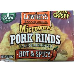 Lowrey's Bacon Curls Microwave Pork Rinds Hot & Spicy 1.75oz. Low Carb, High Protein