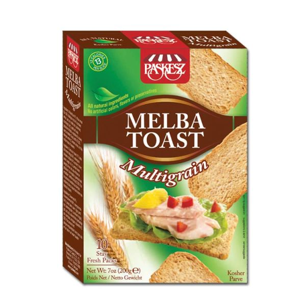 Paskesz Melba Toast MultiGrain 200g. Kosher, All natural Ingredients, No Artificial Colors, Flavors or Preservatives