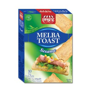Paskesz Melba Toast Sesame 200g. Kosher, All natural Ingredients, No Artificial Colors, Flavors or Preservatives