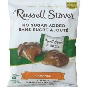 Russell Stover No Sugar Added Caramel 85g. Caramel in no Sugar added Milk Chocolate, Handcrafted in Small Batches, Made With Stevia Leaf, Guarantee of Quality & Freshness.