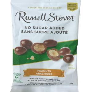 Russell Stover No Sugar Added Peanuts 102g. Roasted Peanuts Covered in no Sugar added Milk Chocolate, Handcrafted in Small Batches, Made With Stevia Leaf, Guarantee of Quality & Freshness.