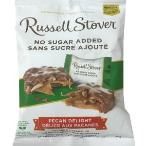 Russell Stover No Sugar Added Pecan Delight. Pecans & Caramel in no Sugar added Milk Chocolate, Handcrafted in Small Batches, Made With Stevia Leaf, Guarantee of Quality & Freshness.