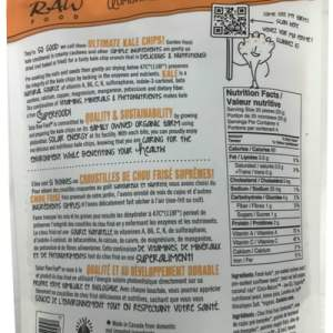 Solar Raw Food Ultimate Kale Chips Better Than Cheddar 100g nutrition facts