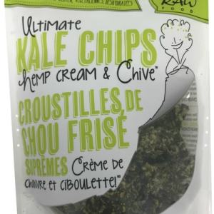 Solar Raw Food Ultimate Kale Chips Hemp Cream & Chive 100g. Organic, Raw, Gluten-Free, Vegan, Dehydrated
