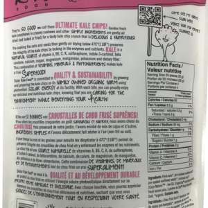 Solar Raw Food Ultimate Kale Chips Pink Salt 100g nutrition facts