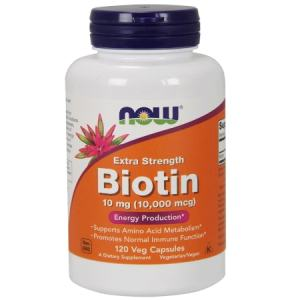 Now Biotin 10 mg (10,000 mcg), Extra Strength 120 Veg Capsules. A Dietary Supplement, Nut Free, Soy Free, Non GMO, Egg Free, Dairy Free, Sugar Free, Low Sodium, Vegan/Vegetarian, Halal, Kosher
