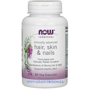Now Hair, Skin & Nails Clinically Advanced Capsules 90 Capsules. A Dietary Supplement, Nut Free, Egg Free, Dairy Free, Halal