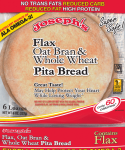 Joseph's Bakery Flax, Oat Bran And Whole Wheat Flour Pita Bread 227g. Low Carb, Low Saturated Fat, Reduced Fat, High Protein, No Cholesterol, Kosher Pita Bread