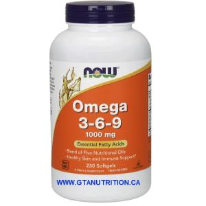 Now Omega 3-6-9 1000mg Essential Fatty Acids 250 Softgels. A Dietary Supplement, Non GMO, Egg Free, Dairy Free, Soy Free, Cold Pressed, Hexane Free, Halal, Kosher