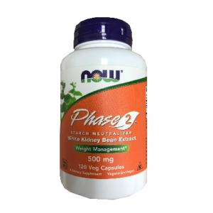 Now Phase 2 Starch Neutralizer white Kidney Bean Extract Weight Management 120 Veg Capsules 500mg. A Dietary Supplement, Nut Free, Soy Free, Non GMO,  Egg Free, Dairy Free, VeganVegetarian,  Kosher