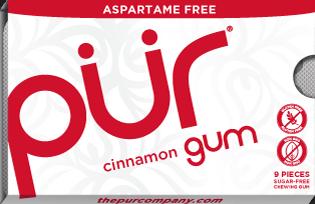 PUR Gum Aspartame Free Cinnamon Sugar Free All-natural Flavors Allergen Free Vegan Non-GMO