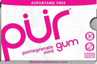 PUR Gum Aspartame Free Pomegranate Mint Sugar Free All-natural Flavors Allergen Free Vegan Non-GMO