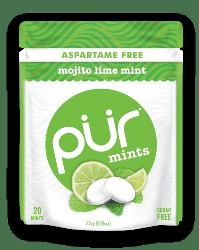 PUR Mint Aspartame Free Mojito Lime Mint Sugar Free All-natural Flavors Allergen Free Vegan Non-GMO