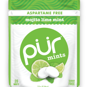 PUR Mint Aspartame Free Mojito Lime Mint Sugar Free All-natural Flavors Allergen Free Vegan Non-GMO
