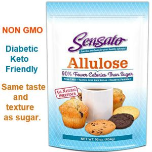 Sensato Allulose All Natural Sweetener 454g. Non GMO Tastes Just Like Sugar, Diabetic and Keto Friendly.