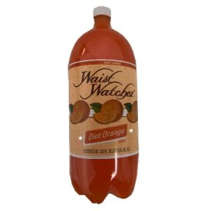 Waist Watcher Orange Sugar Free Diet Soda 2 Liter Bottle. No Calories, Zero Carbs, Sugar Free, Aspartame Free, Caffeine Free, Sodium Free, Kosher