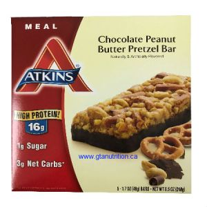 Atkins Meal Bars Chocolate Peanut Butter Pretzel | 5 Bars of 48g | Protein - Rich Meal Bar