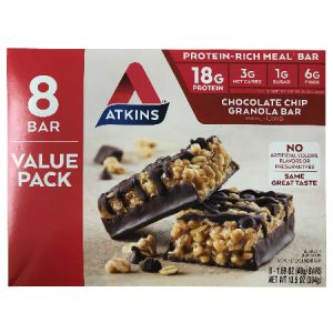 Atkins Meal Bars Value Pack Chocolate Chip Granola 8 Bars (48g)