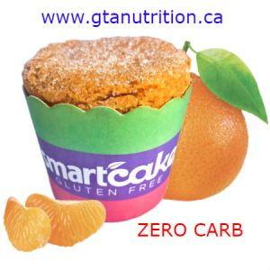 Smart Baking SmartCAKE Tangerine At only 38 Calories and Zero Carb per Smartcake™ they are Beyond Gluten Free. They have 5 grams of fiber, 4 grams of protein and still manage to taste great with No sugar and No starch. Smart cakes are excellent for any low carb diet plan. Available at GTA NUTRITION