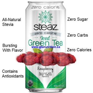 Steaz Zero Calories All Natural Green Tea Raspberry 473ml. Zero Sugar, Zero Carbs, Zero Calories