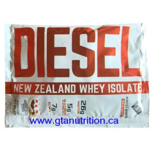 Diesel New Zealand Whey Isolate Protein - Chocolate Banana Split 30g. DIESEL NEW ZEALAND WHY ISOLATE PROTEIN IS VEGETARIAN, UNDENATURED, NON GMO, NO MSG, MADE WITH NATURAL INGREDIENTS AND IT'S FREE OF BANNED SUBSTANCE, LACTOSE, GLUTEN, ASPARTAME, AND NUT.