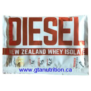 Diesel New Zealand Whey Isolate Protein - French Vanilla 30g. DIESEL NEW ZEALAND WHY ISOLATE PROTEIN IS VEGETARIAN, UNDENATURED, NON GMO, NO MSG, MADE WITH NATURAL INGREDIENTS AND IT'S FREE OF BANNED SUBSTANCE, LACTOSE, GLUTEN, ASPARTAME, AND NUT.