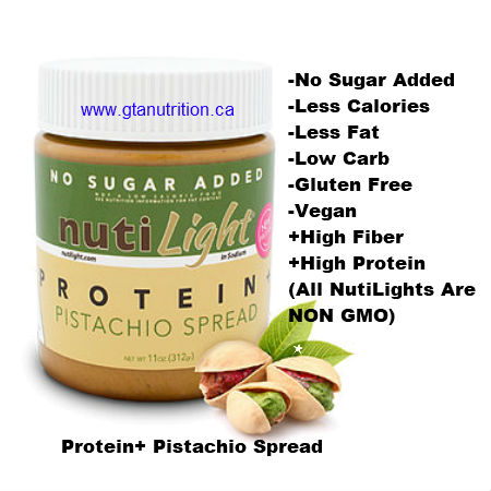NutiLight Spread No Sugar Added Protein+ Pistachio 312g | Low Carb, Less Calories, Less Fat, Gluten Free, Soy Free, NON GMO and Kosher