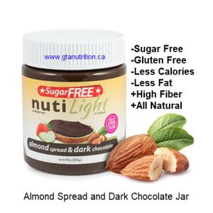 NutiLight Spread Sugar Free Almond and Dark Chocolate 312g | Low Carb, Less Calories, Less Fat, Sugar Free, Gluten Free, Soy Free, NON GMO and Kosher