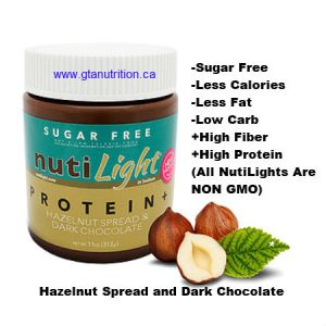 NutiLight Spread Sugar Free Protein+ Hazelnut and Dark Chocolate 312g   Low Carb, Less Calories, Less Fat, Sugar Free, Gluten Free, Soy Free, NON GMO, Vegan and Kosher