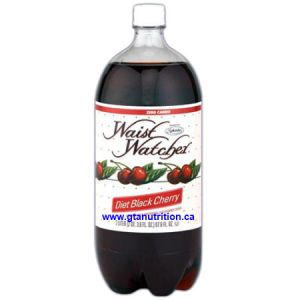 Waist Watcher Black Cherry Sugar Free Diet Soda 2 Liter Bottle. No Calories, Zero Carbs, Sugar Free, Aspartame Free, Caffeine Free, Sodium Free, Dr. Poon Diet, Kosher