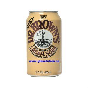 Dr Brown's Sugar Free Cream Soda Diet Can 355ml. No Calories, Zero Carbs, Sugar Free, Caffeine Free, Kosher