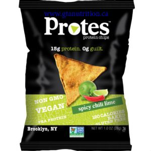 Protes Protein Chips Spicy Chili Lime 28g. It is Made With Pea Protein. 15g Protein 0g Guilt. Kosher