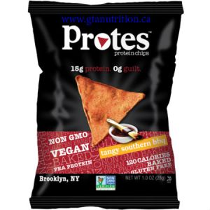 Protes Protein Chips Tandy Southern BBQ 28g. It is Made With Pea Protein. 15g Protein 0g Guilt. Kosher