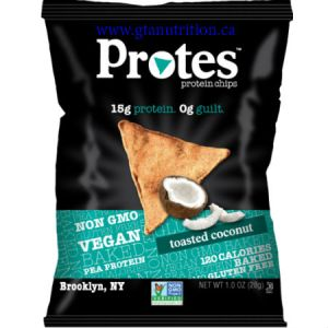 Protes Protein Chips Toasted Coconut 28g. It is Made With Pea Protein. 15g Protein 0g Guilt. Kosher